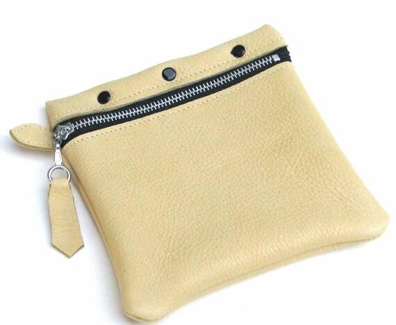 Lemon Yellow Deerskin Zipper Cosmetic Pouch Change Purse Wallet