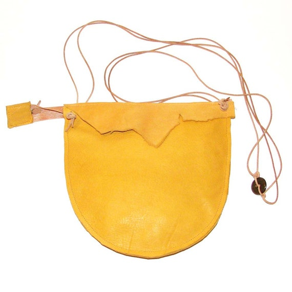 Honey Gold Goldenrod Yellow Deerskin Natural Edge Zipper Cross Body Pouch