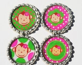 Set of 4 Mod Monkey Hot Pink and Lime Green Bottle Cap Magnets