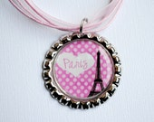 Paris Pink Polka Dot Heart Bottle Cap Necklace Birthday Party Gift
