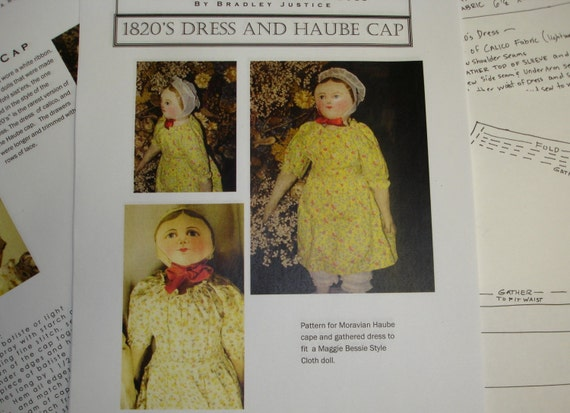 1820's Style Dress to Fit North Carolina Cloth doll, Maggie Bessie