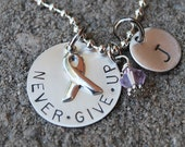 Breast Cancer Awareness and Survivor-Never Give Up- Personalized Hand Stamped Sterling Silver Pendant Necklace , customized for you