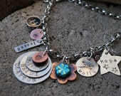 Family Charm Necklace-Hand Stamped Sterling Silver and Copper-You Personalize it Your Way-