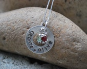 Mothers Circle of Love with Birthstones-Personalized Hand Stamped Sterling Silver