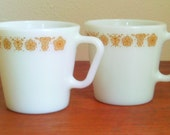 Pyrex Butterfly Mugs Golden Yellow, Floral -1970s - Retro Home Goods