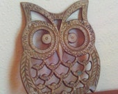 Vintage Gold Metal Cast Iron Owl Trivet