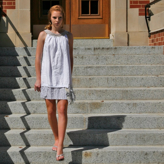 upcycled clothing . XS - S . shift dress . atlantic mist