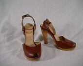 ON HOLD FOR SUSY  Vintage 70s Brown Leather Wood Platform high heel Ankle Strap  free shipping