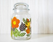 vintage / / RETRO FLOWERS / / canister / glass jar