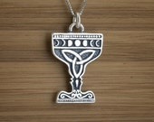 Moon Phases Celtic Chalice - STERLING SILVER - (Pendant, Necklace, or Earrings)