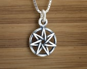 Small Faerie Star - Heptagram - Fairy Star - STERLING SILVER - (Charm, Necklace, or Earrings)