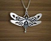 Small Celtic Dragonfly - STERLING SILVER - (Pendant, or Necklace)