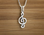 Tiny Treble Clef - Music Charm - STERLING SILVER - (Charm, Necklace, or Earrings)