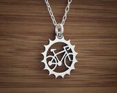 Bicycle Charm - Sterling Silver - (Charm, Necklace, or Earrings)