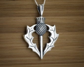 Scottish Thistle Pendant - STERLING SILVER - (Pendant, or Necklace)