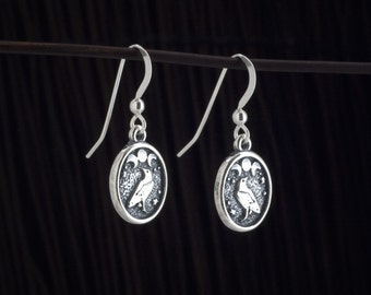 Raven and Triple Moon Earrings - STERLING SILVER