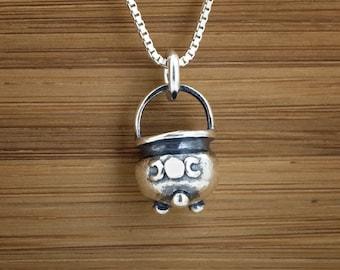 Little Triple Moon Cauldron - 3D - STERLING SILVER - (Charm, Necklace, or Earrings)