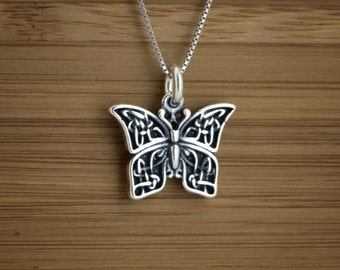 Celtic Butterfly Charm - STERLING SILVER - (Charm, Necklace, or Earrings)