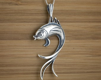 Koi Fish Pendant - STERLING SILVER - (Pendant, or Necklace)