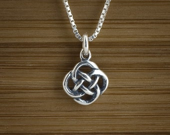 Tiny Celtic Love Knot - STERLING SILVER - (Charm, Necklace, or Earrings)