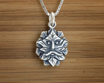 Green Man - STERLING SILVER - (Charm, Necklace, or Earrings)