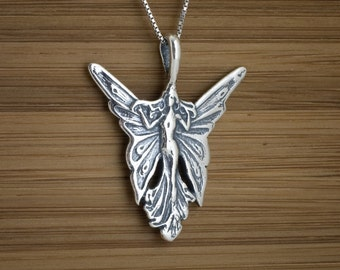 Art Nouveau Butterfly Fairy - STERLING SILVER - (Pendant, or Necklace)
