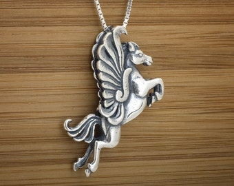 Leaping Pegasus - STERLING SILVER - 3D Double Sided - (Pendant, or Necklace)