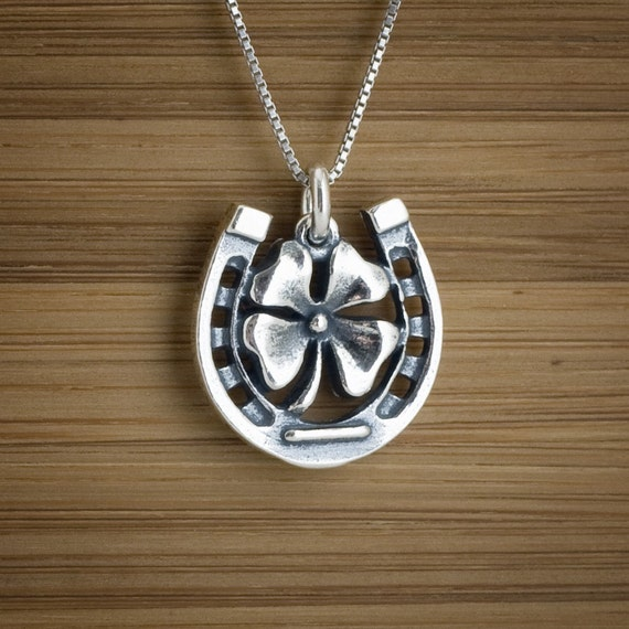 Twice as Lucky Shamrock Horseshoe - STERLING SILVER - (Charm, Necklace, or Earrings)