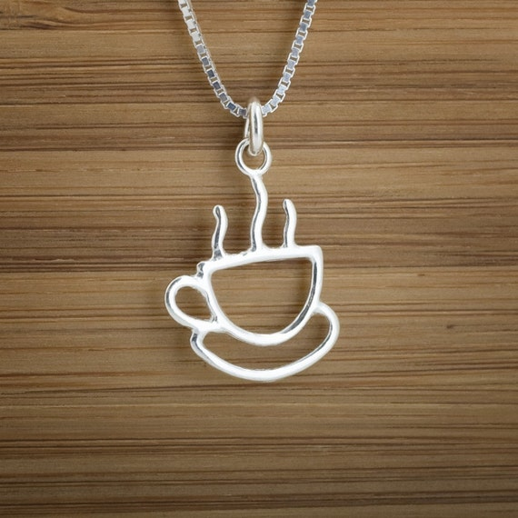 Coffee Cup Charm - STERLING SILVER - (Charm, Necklace, or Earrings)