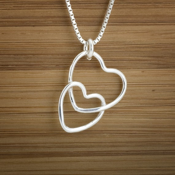 Connected Hearts - Love Charm - STERLING SILVER - (Charm, Necklace, or Earrings)