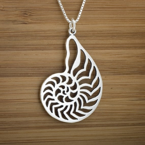 Nautilus Shell Pendant - STERLING SILVER - Double Sided - (Pendant, Necklace, or Earrings)