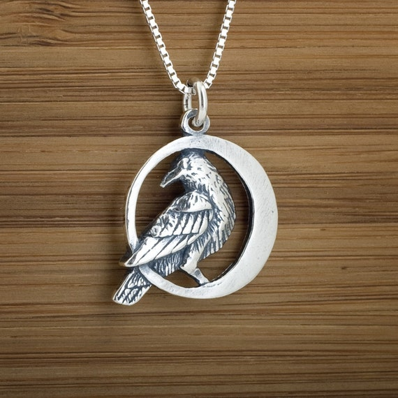 Raven in the Moon - STERLING SILVER - (Pendant, Necklace or Earrings)
