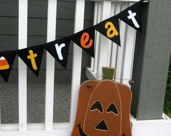 Trick Or Treat Pennant Garland with Candy Corn