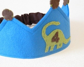 Green Dino Birthday Crown