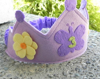 Personalized Purple Butterfly Garden Birthday Crown