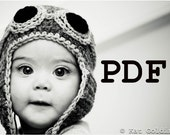 PDF Pattern for the Copilot Aviator Pilot Baby Child Toddler Adult Crochet Hat