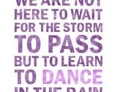 Dance in the Rain WORD ART Print in purple