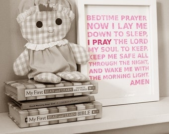 Little Girls Pink and Red Bedtime Prayer Typography Print