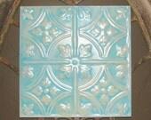 Antiqued Robin's Egg Blue Tin Ceiling Tile