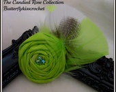 Limeaide Delight Hand Dyed Kona Cotton Brooch Pin with Rhinestones and Turkey and Guinea Hen Feathers The Candied Rose Collection