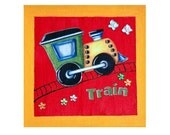 RESERVED - Yellow Red Train Picture on Canvas for Child or Baby Room