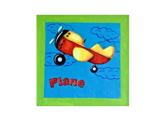 RESERVED - Plane Picture on Canvas for Child or Baby Room - Green Blue made in Israel