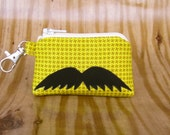Tiny Little Coin Purse - Savvy Mustache on Houndstooth