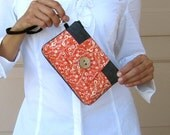 Cell Phone Wristlet Wallet - iPhone Blackberry Phone and Card Holder - Orange Flower