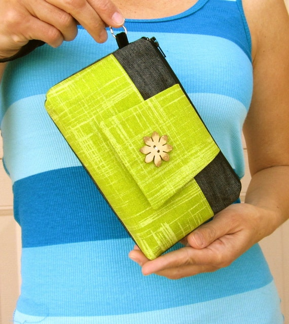 Cell Phone Wristlet Wallet - iPhone Blackberry Phone and Card Holder - Lime with Coconut Button
