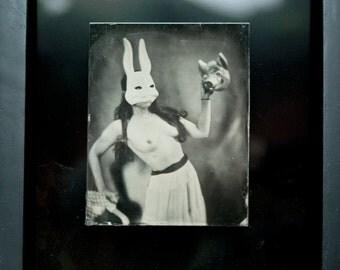 original tintype,  (framed) silly rabbit , 2010