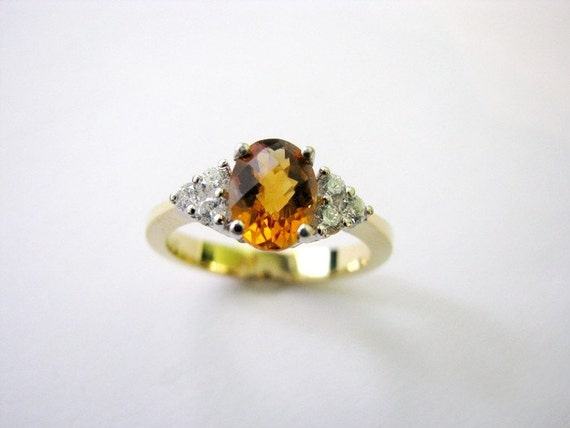 18k gold diamond ring with citrine - HONEYMOON