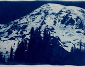 Mt. Rainier Large Hand printed Cyanotype Print