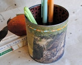 Papered Pencil Holder - Stealthy Lynx - Large