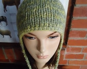 irish granny green yellow hand dyed pure wool earflap hat